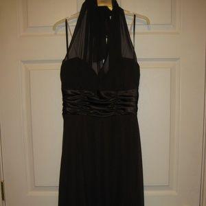 brown halter tie dress